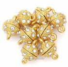 5Pcs Golden Round Ball Crystal Rhinestone Strong Magnetic Clasps,8mm