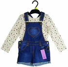 Girl's Bib Dungaree Shorts & Long Sleeve Top Set 18mths-7yrs NEW