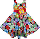 Girls Dress Colorful Daisy Bow Sundress Dancing Beach Children Clothes 2-10 Y