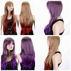 2 Color Women Fashion Straight Blonde Red /Purple Gray Mixed Cosplay Wig Hair