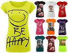 Ladies Be Happy Cap Sleeve T Shirt Womens Printed Slogan Tee Top Plus Sizes 8-14
