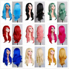 10 Colors Womens Long Wigs Wave Fancy Dress Cosplay Party Costume Full Hair Wig