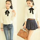 Womens OL Sweet Bowknot Bow Tie Doll Collar Chiffon Shirt Long Sleeve Top Blouse