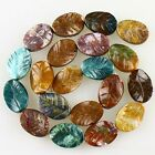K59665 Carved Gemstone Indian agate leaf loose beads 20pcs wholesale mix