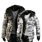 Men's Thermal Hooded Cotton-Padded Coat Casual Slim Fit Camo Jackets Down Parkas