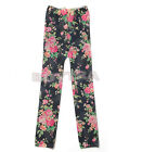 Fashion Kids Stretch Tights Leggings Rose Pants Printed Girls Slim Trousers JRAU