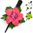 """Handmade"" Leather Flower Barrette Hair Clip Bow Lily w/ Stone Choose Color aja2"