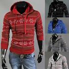 Mens Fashion Jacket Long Sleeve Slim Hoodie Floral Print Sweater Zip Up Cardigan