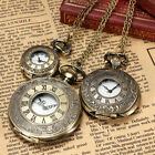 Vintage Retro Roman Numerals Bronze Quartz Pocket Watch Pendant Necklace Chain