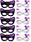 5 Sequinned Cat Masks with Bow Halloween Party