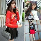 Embroidered Big Eye Crew Neck Pullover Acrylic Womens Sweaters Jumpers Knitwear