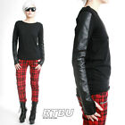 RTBU Androgynous Faux Snake Phython Leather Skin Gothic Punk Rock Mitten T Shirt
