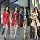 Womens Long Sleeve Double Breasted Belted Long Coat Jacket Outerwear Overcoat