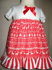 Baby Girls Xmas Nordic Red,White Stripes,Reindeer Dress Headband set,Gift,Party