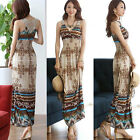 HOT Women Sexy summer Floral V-Neck Beach Boho Bohemia Maxi Sundress Long Dress