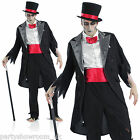 Mens Zombie Undead Groom Fancy Dress Halloween Costume + Hat