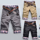 Summer Men Boy Plaids Shorts Cropped Pants Stylish Flat Trousers Casual Slim