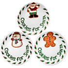 20cm 'COOKIES FOR SANTA' PLATE SET - 3 DIFFERENT CHRISTMAS DESIGNS