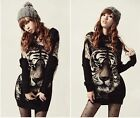 Korean Womens Loose Tiger Knit Tops Batwing Long Sleeve Pullover Sweater Jumper