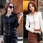 Korean Women Long Sleeve OL Business Leopard Slim Shirt Tops Blouse Black White
