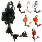 """Handmade"" Leather Flower Keychain Key Ring Bag Charm Lotus Floral fba2"