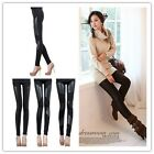 Ladies Fashion Black Stretchy Faux Leather Tights Leggings Cotton Skinny Pants-Z