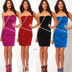 Strapless Beaded Bodycon Sheath Mini Short Cocktail Party Pencil Evening Dress