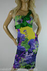 Karen Millen Orchid Floral Stretch Satin One Shoulder Wiggle Party Dress 6 34