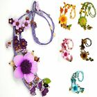 """Handmade"" Leather Flower Necklace Pendant Charm 23 in Anemone Choose Color eha1"