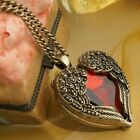 Retro Red heart wings long necklace sweater chain
