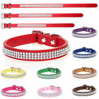 Luxury Diamante Dog Collar Rhinestone Crystal Bling Faux Leather Cat Pet Band