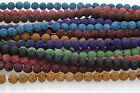 "50pcs Natural Lava Rock Round Shape Gemstone Spacer Beads Strand 15"" ,  9Colors"