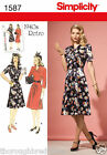 Simplicity 1587 Sewing Pattern Vintage 1940s V Neck Tea Dress Ladies Size 6-22