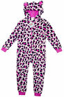 Girls Animal Crazy Pink Leopard Cub Onesie Sleepsuit with Ears 2-11 yrs NEW