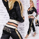Women's Tracksuit Set Jacket Pants Jogging Gym Workout Sportswear 6 8 10 XS S M