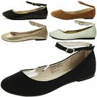 Womens Ballet Flats Ankle Strap Suede Lined Ballerina Slippers Slip On Shoes New