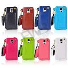 Ultra Thin Credit Card Holder Leather Pouch case Neck Strap for Samsung S5 i9600