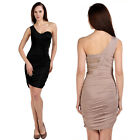 Womens Sexy One Shoulder Stretchy Ruched Lace Detail Bodycon Cocktail Part Dress