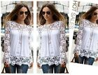 1x Women Hollow Long Sleeve Chiffon Tops Embroidery Lace Casual Shirts Blouse #S