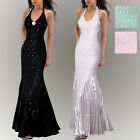 Donna Bella Halter Maxi Fishtail Evening Prom Wiggle Lace Evening Cocktail Dress