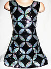 GIRLS 60s BLACK SILVER KALEIDOSCOPE PATTERN SEQUIN EVENING PARTY DRESS