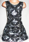 GIRLS 60s SILVER & BLACK KALEIDOSCOPE PATTERN SEQUIN EVENING PARTY DRESS