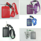 Business ID Card Holder Vertical Imitation leather Badge vertical +Strap Lanyard