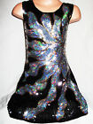 GIRLS 60s BLACK SILVER FIRE FLAME PATTERN SEQUIN EVENING PARTY DRESS