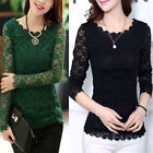 UK Size 6 8 10 12 14 NEW Women's Sexy Long Sleeve Lace Floral Tops Shirt Blouse