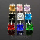 FUNKY BOYS MENS SINGLE SQUARE COLOURED CZ DIAMANTE EARRING FUN BLING HIP HOP RAP