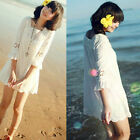 Sexy Women Short Sleeve Square Neck Sheer Crochet Floral Lace Mini Dress White