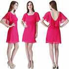 Women Girl Summer Cape Sleeve V backParty Casual Chiffon Short Fuchsia Day Dress