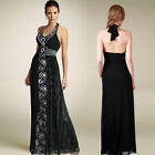 Donna Bella Womens Embellished Lace Stretchy Evening Cocktail Party Maxi Dress