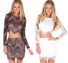 New Women's Dress Skirt Lace & Mesh Long Sleeve Two pieces Costume Sexy Slim Hot